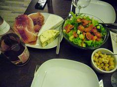 Girls night. Champagne, cheeses and salads