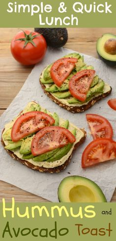 Lately I've been diggin' this vegan Hummus and Avocado Toast as a super simple lunch/snack. It's made with my healthy, homemade, lemon-garlic hummus and topped with fresh, ripe avocado. It's quick, easy and can be ready in under 10 minutes. Lunch Snacks, Diet Snacks, Snacks List, Whole Food Recipes, Cooking Recipes, Diet Recipes, Cooking Tips, Recipies, Cooking Corn