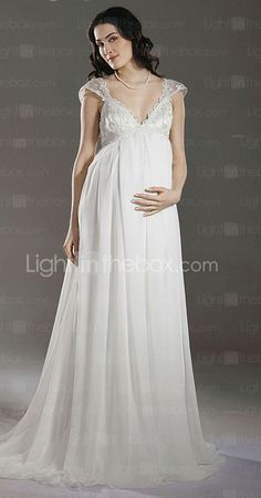 Sheath/ Column Empire V-neck Court Train Chiffon Maternity Wedding Dress - USD $ 199.99
