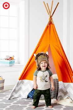 """Create a special little nook for your favorite monster! Dressed in """"Where the Wild Things Are"""" apparel, he's sure to be the sweetest king. Who doesn't want to play the day away? The teepee is the perfect place for your little monster to seek out adventure and a little quiet time, too!"""