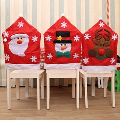 Christmas Santa Hat Dining Chair Back Covers Party Xmas Table Decoration 1 Snowman Decorations, Christmas Party Decorations, Holiday Decor, Christmas Chair Covers, Christmas Stockings, Christmas Wreaths, Chair Back Covers, Xmas Tree, Christmas Home