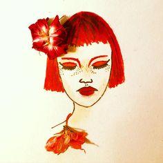 #inspirationfloral #inspiration #floral #flower #woman #painting #illustration #art #artwork #artist #redhair #red #sketch @art_spotlight