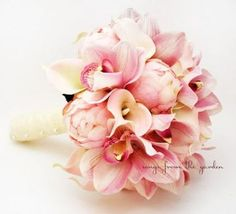 Bridal Bouquet Peonies Calla Lilies Cymbidium Orchid Pink Wedding Bouquet Silk Flower Pink Peonies Callas Orchids Ivory Lace (in Tiffany blue) Peony Bouquet Wedding, Bridal Bouquet Pink, Bridal Flowers, Bridesmaid Bouquet, Silk Flowers, Stargazer Bouquet, Flower Bouqet, Orchid Bouquet, Lily Wedding