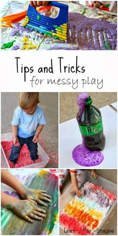 Great tips and tricks for enjoying messy play without losing your mind!  How to set boundaries and keep the mess contained while still allowing children to play, create, and imagine.