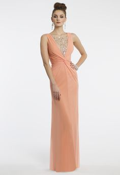 Camille La Vie Mesh Illusion Plunge Prom Dress