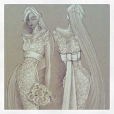 Illy Strate Your new and original friend for fashion illustration and design. Wedding Dress Drawings, Wedding Dress Illustrations, Wedding Illustration, Fashion Illustration Sketches, Fashion Sketches, Fancy Gowns, Fashion Design Drawings, Fashion Figures, Mode Chic