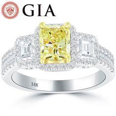 1.98 Carat GIA Certified Fancy Intense Yellow Diamond Engagement Ring 14k Gold - Thumbnail 1