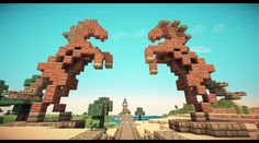 Dothraki horse gate (horse design by novv) : Minecraft - statue Minecraft Horse, Minecraft Statues, Minecraft Structures, Minecraft Castle, Minecraft Plans, Minecraft Survival, Minecraft Blueprints, Cool Minecraft Houses, Minecraft Designs