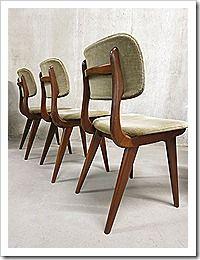 Vintage design eetkamerstoelen stoelen Webe Louis van Teeffelen dining chairs Danish style