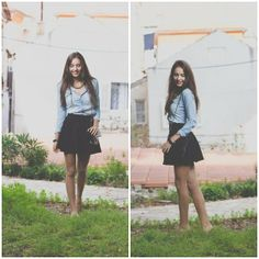 Button-up and skater skirt