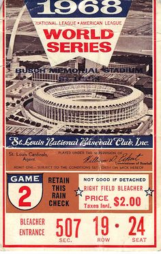 Ticket to see the 1968 World Series between the Tigers & Cardinals. Detroit Tigers Game, Detroit Sports, Detroit News, Detroit Baseball, Baseball Players, Baseball Field, Cardinals Baseball, St Louis Cardinals, Detriot Tigers