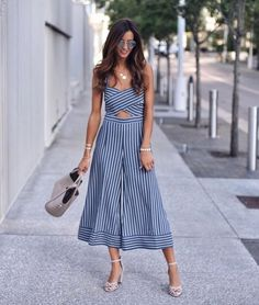 47 Lovely Summer Outfit Ideas For Women 2019 - combinaison Plus Size Dresses, Plus Size Outfits, Shirred Dress, Strapless Dress, Summer Stripes, Colorblock Dress, Stripe Dress, Striped Jumpsuit, Overall