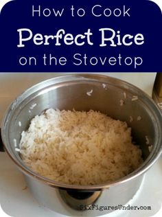 How to Cook Perfect Rice on the Stove & Easy Mexican Rice Recipe Rice is a staple in any frugal family's menu. Learn how to cook rice on the stove without a rice cooker! A foolproof way to get it perfect every time! Plus a recipe for Mexican Rice. Cooking Tips, Cooking Recipes, Healthy Recipes, Cooking Classes, Cooking Games, Cooking Steak, Cooking Bacon, Cooking Videos, Cooking Food