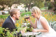 Bride and groom enjoying wine in the garden!