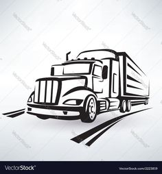 American lorry silhouette truck outlined sketch Vector Image by baldyrgan Dump Trucks, Tow Truck, Truck Tattoo, Sous Bock, Freightliner Trucks, Logo Design Tutorial, Truck Art, Business Shirts, Silhouette Art
