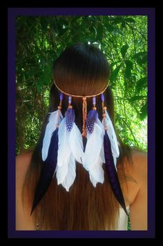 Amethyst Princess - Feather headband native american style indian headband hippie bohemian  wedding veil purple boho gypsy edm