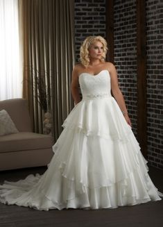 Modern Organza Ballgown Style Strapless Appliques Ruffles And Beaded Chapel Trian Plus Size Wedding Dress