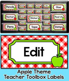 "Create a whimsical teacher toolbox with these fun apple theme editable labels. These labels are designed to fit the ""Stack-on"" 22 drawer and 39 drawer organizers from Lowe's. By Pink Cat Studio"