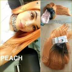 Kylie Jenner Hair Wig Peach Ombre Synthetic Lace Front Wig Heat Resistant Natural Long Straight 180%Density New Arrived Lace Wig