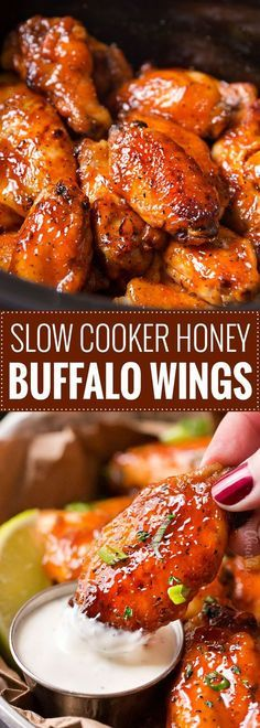 Slow Cooker Honey Buffalo Wings | Chicken wings are rubbed with spices, tossed in a sweet and spicy honey buffalo sauce, cooked in the slow cooker, then crisped up under the broiler for a finger-lickin' juicy hot wing! Slow cooker wings are the way to go this game day season! | The Chunky Chef | #chickenwings, #hotwings #chickenwingrecipe #buffalo #honeybuffalo #slowcooker #crockpot #gamedayfood Crock Pot Slow Cooker, Crock Pot Cooking, Slow Cooker Chicken, Cooking Recipes, Healthy Recipes, Crockpot Meals, Crockpot Chicken Wings, Buffalo Wings Recipe Crockpot, Crock Pot Wings