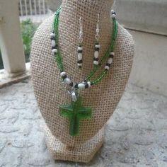 Green Crystal Cross Set
