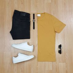 Men Casual T-Shirt Outfit 🖤 Very Attractive Casual Outfit Grid, Best Smart Casual Outfits, Casual Outfit For Men, Cool Outfits For Men, All White Sneakers, Smart Casual Men Sneakers, Outfit Grid, Mens Fashion, Fashion Outfits, Fashion Clothes