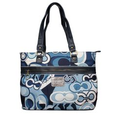 Coach Fashion Poppy Logo Large Blue Totes ENX Make You An Appreciative Person. To Appreciate Life, And You Will Feel The World Is More Beautiful. #Coach