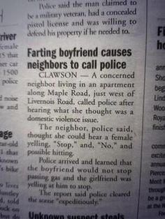 Farting Boyfriend Newspaper Article - Too Funny!