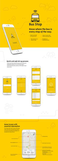 Bus Stop: A redesign of the Here Comes the Bus app on Behance - Pin Coffee Web Design, App Ui Design, Mobile App Design, Flat Design, Mobile Ui, Transport Bus, Bus App, Logo Guidelines, App Promotion