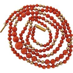 Antique 14K Gold And Graduated Red Coral Bead 27-Inch Necklace