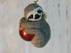 Happy Sloth Ornament Christmas Holiday Keepsake by WhimzyGrimzy
