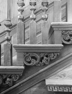 Stairs Balusters, Iron Stair Railing, Stair Brackets, Traditional Staircase, Floor Ceiling, Wooden Stairs, Plantation Homes, Stairway To Heaven, Wood Interiors