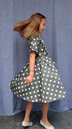 5th Grade Graduation picture-perfect--our Grace dress, Charcoal Dots, Cotton Sateen