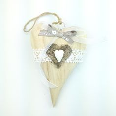 Cuore Grande Heartbeat Té handmade wood heart decoration only by Daffodil Bijoux