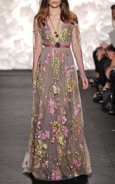 Floral Embroidered Long Sleeve Gown by Naeem Khan for Preorder on Moda Operandi