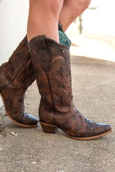 Corral Brown Studded Leather Cowboy Boots