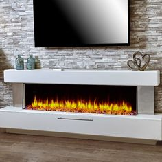 Electric Fireplace Suites, White Electric Fireplace, Wall Mount Electric Fireplace, Electric Fireplaces, Contemporary Fireplace Designs, Modern Fireplace, Living Room With Fireplace, Linear Fireplace, Fireplace Ideas