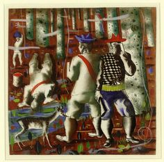 Preparatory drawing for 'Entry into the forest' mural at the Hispanic Division in the Library of Congress Washington DC By Cândido Portinari Forest Mural, Persecution, Library Of Congress, Art Studies, Contemporary Paintings, Drawings, Washington Dc, Division, Roots