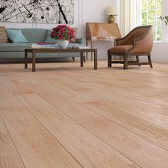 Barlinek Sense Oak Harmony engineered wood flooring is an extra wide plank floor with a white brushed natural oil finish. White Washed Oak, White Oak Floors, Wide Plank Flooring, Engineered Wood Floors, Dining Bench, Interior, Table, Furniture, Home Decor