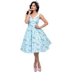 385cb6d41089 Hell Bunny 1950s Style Aqua Blue & White Sea Sparkle Swing Dress ($82) ❤