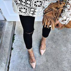 A crochet top, fringe bag, and lace-up flats. So stylish.
