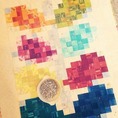 Pixelated Vine Quilt - basting by twinfibers, via Flickr