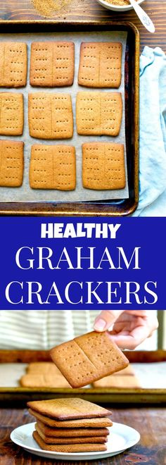 Healthy homemade graham crackers that are refined sugar free! Naturally sweetened with coconut sugar and honey, making them the perfect baby food for a teething baby. @dessertfortwo
