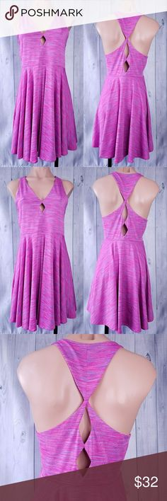 Pink/ purple Sundress Keyhole front/back detailing Cute summer dress with bell skirt.  Stretchy and cosy. Bought in Urban Outfitters. Cute front and back Keyhole details. In excellent condition. Length back(neck to bottom ) 33in silence + noise Dresses Mini