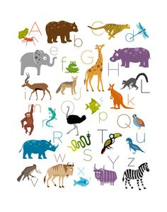 Safari / Jungle Animal Alphabet Print  11 x 14 by theIrisandtheBee, $20.00