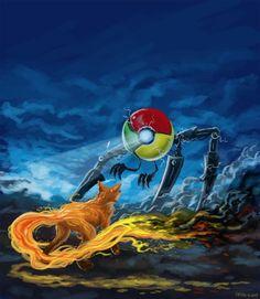 Google Chrome VS Fire Fox cool picture.