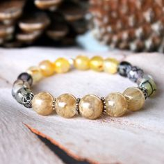 Citrine, agate crackle and sterling silver bracelet