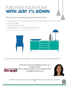 Purchase a house with only 1% down payment