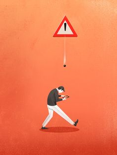 Pay Attention!!  attention, illustration, salzman, concept, walk, man, mobile, phone, iphone, distraction, danger, signal, way, road