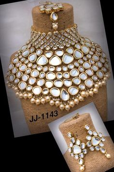 All of our Kundan Jewelry is handmade with ancient Kundan stone setting method using silver foils. Order Choker Indian Traditional Bridal and Wedding Gold Plated Kundan Necklace Earrings Fashi. Kundan Jewellery Set, Indian Jewelry Earrings, Fancy Jewellery, Fashion Jewelry Necklaces, Stylish Jewelry, Bridal Jewellery, Jewelry Logo, Jewelry Quotes, Pearl Jewelry